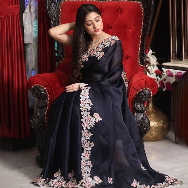 enchanting-black-color-georgette-with-embroidery-work-saree