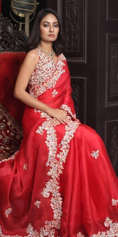 enchanting-red-color-georgette-with-embroidery-work-saree