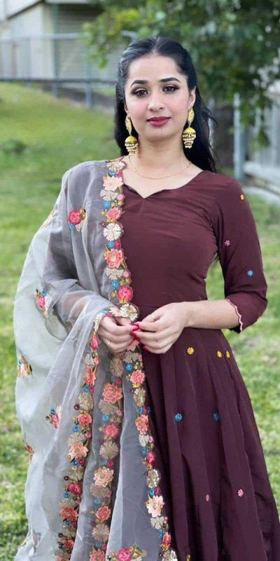 fantastic-brown-color-georgette-with-embroidery-work-trendy-gown