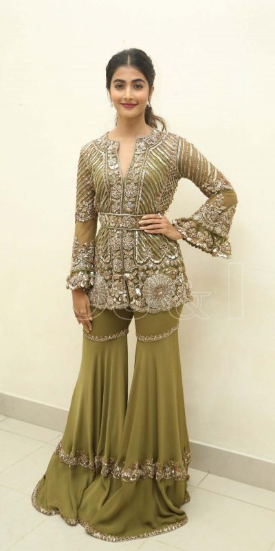 gorgeous-pooja-hegde-in-green-color-sequence-work-sharara-suit