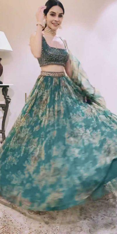 gorgeous-teal-green-color-original-organza-floral-printed-lehenga-choli