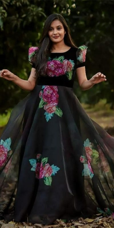 ideal-black-color-organza-with-digital-printed-fancy-gown