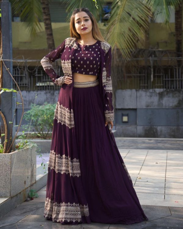 luminous-purple-color-heavy-georgette-lehenga-choli-with-jacket