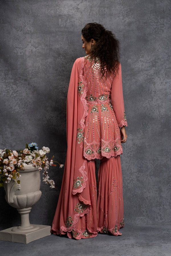 majestic-salmon-pink-color-embroidery-mirror-work-sharara-set
