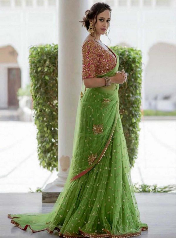 sequence-embellished-green-color-womens-party-wear-saree