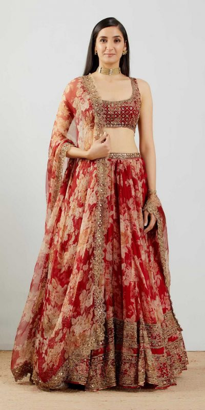 stunning-womens-wear-red-color-embroidery-with-printed-lehenga-choli