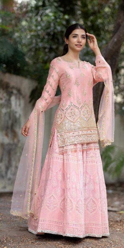 stylish-pink-embroidery-work-mirror-party-wear-sharara-set NSR1265