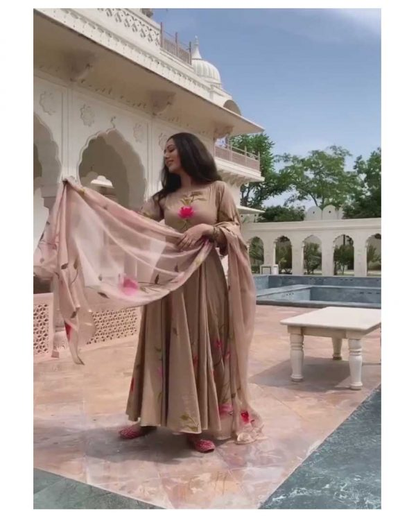 womens-party-wear-brown-color-georgette-with-digital-printed-gown