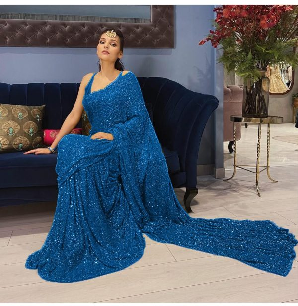 womens-sea-blue-color-party-wear-sequence-sarees