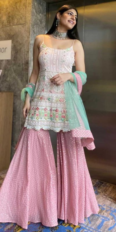 yankita-kapoor-white-pink-color-mirror-embellished-party-wear-sharara-suit