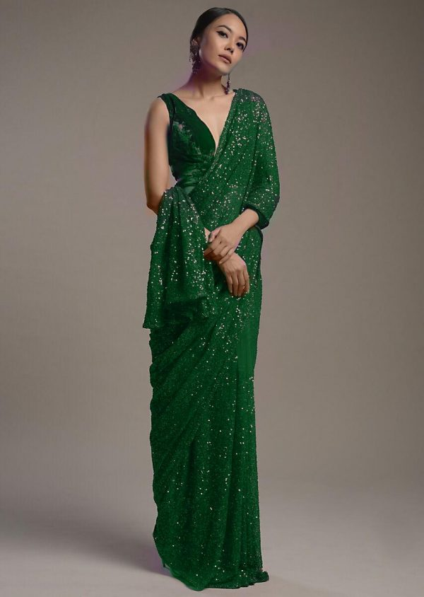 amazing-green-color-heavy-sequence-embellished-party-wear-saree