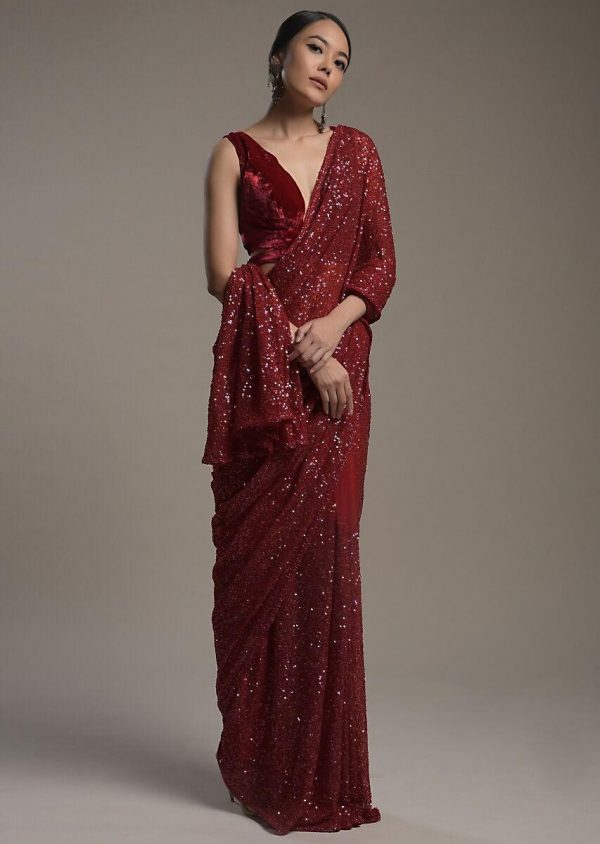 amazing-maroon-color-heavy-sequence-embellished-party-wear-saree