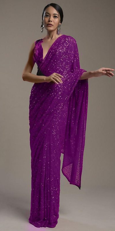 amazing-purple-color-heavy-sequence-embellished-party-wear-saree