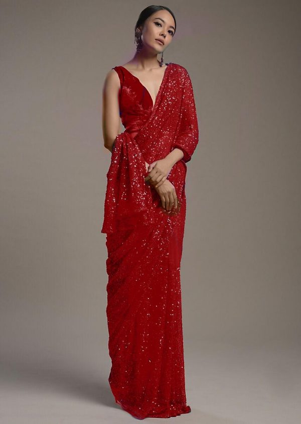 amazing-red-color-heavy-sequence-embellished-party-wear-saree