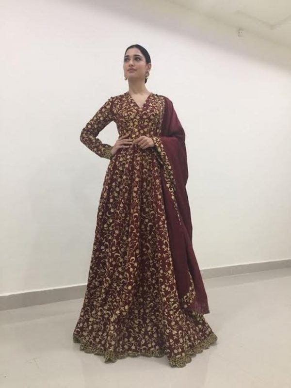 beauteous-tamannaah-bhatia-brown-color-embroidery-work-bridal-gown