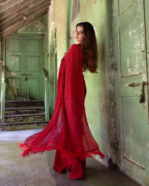 divine-red-color-fancy-sequence-work-party-wear-saree