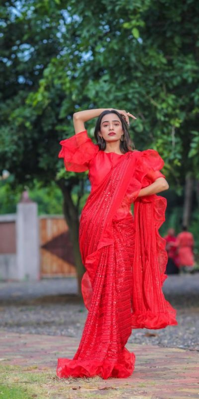 glamorous-prajakta-gaikwad-sequence-work-red-color-party-wear-saree