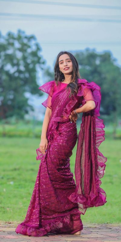 glamorous-purple-color-georgette-with-sequence-embellished-ruffle-saree
