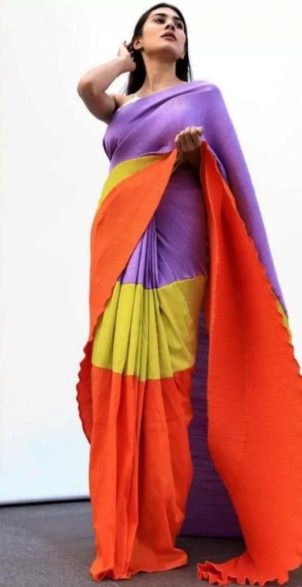 luminous-multi-color-color-pleating-work-with-digital-printed-saree