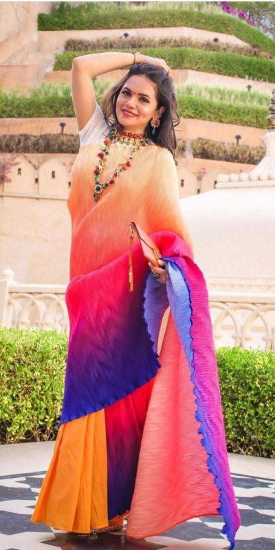 perfectly-formed-multi-color-color-pleating-work-with-digital-printed-saree