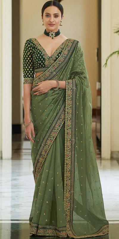 dazzling-green-color-heavy-border-vichitra-silk-wedding-saree