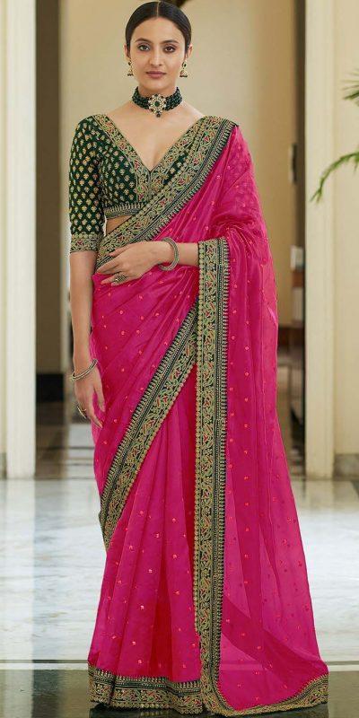 dazzling-pink-color-heavy-border-vichitra-silk-wedding-saree