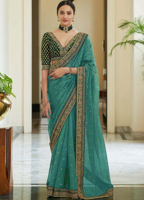 dazzling-sea-green-color-heavy-border-vichitra-silk-wedding-saree