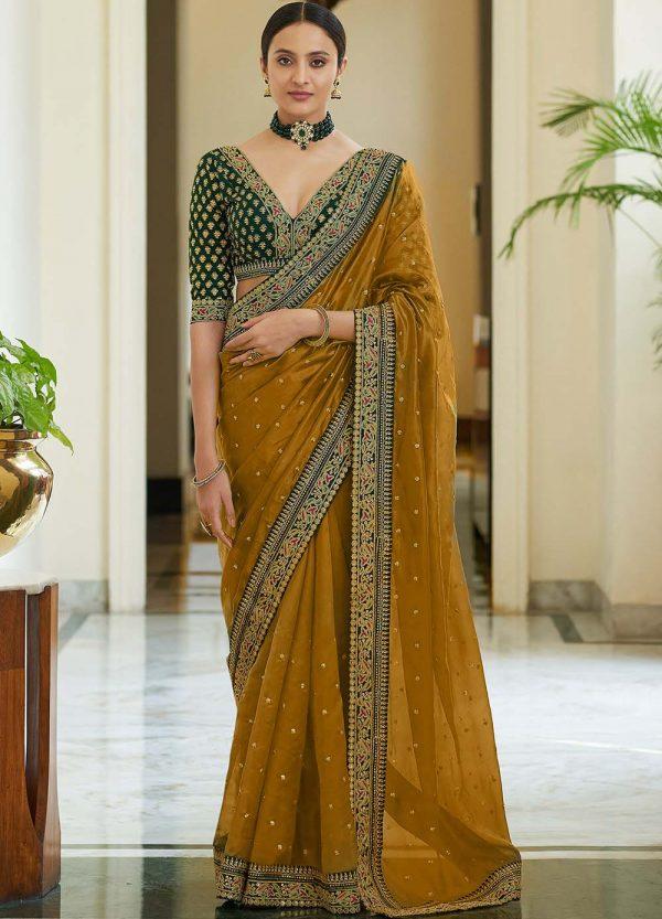 dazzling-yellow-color-heavy-border-vichitra-silk-wedding-saree