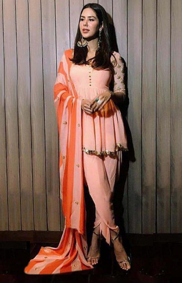 divine-sonam-bajwa-in-trendy-peach-color-party-wear-patiala-suit