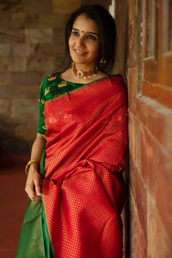 ethereal-womens-red-color-soft-silk-with-jacquard-work-saree