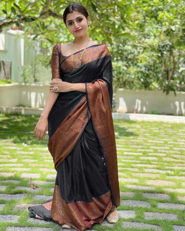 extraordinary-black-color-lichi-silk-with-jacquard-work-party-wear-saree