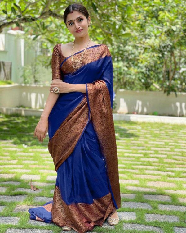 extraordinary-blue-color-lichi-silk-with-jacquard-work-party-wear-saree