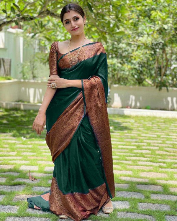 extraordinary-green-color-lichi-silk-with-jacquard-work-party-wear-saree