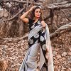 fashionable-grey-color-exclusive-jacquard-work-party-wear-saree