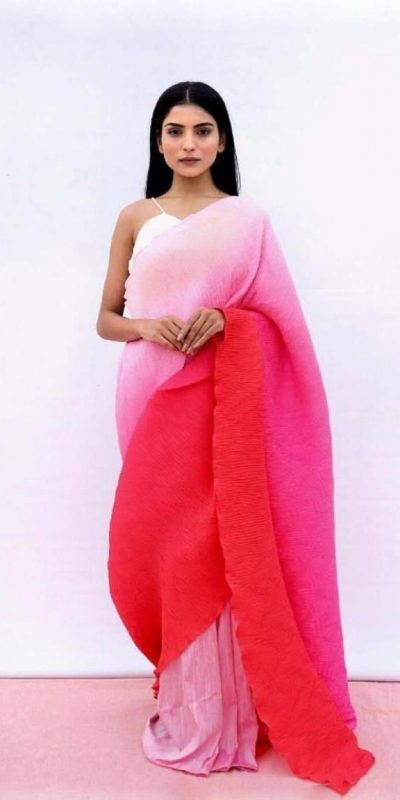 fashionable-multi-color-color-pleating-with-digital-printed-saree