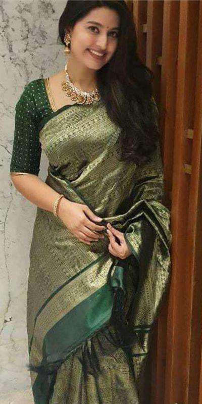 harmonious-dark-green-color-jacquard-work-trendy-party-wear-saree