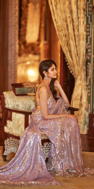 latest-party-wear-purple-color-sequence-embellished-trendy-saree