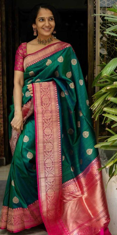 majestic-green-color-traditional-silk-with-jacquard-work-saree