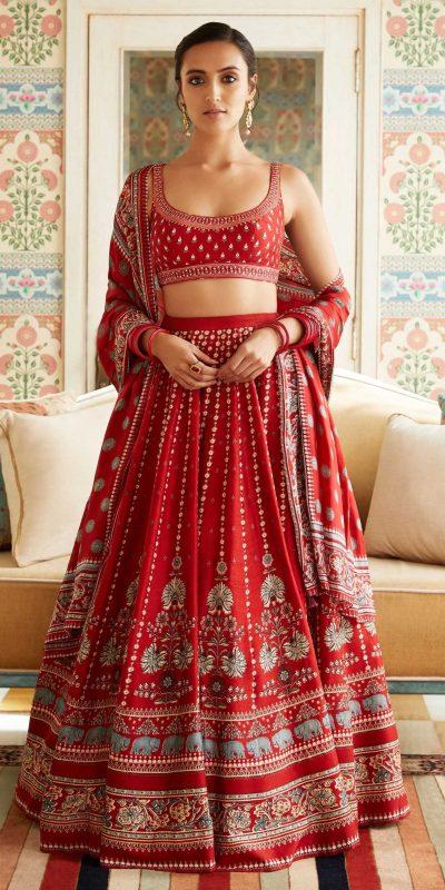 radiant-red-color-heavy-slub-cotton-with-digital-printed-lehenga-choli