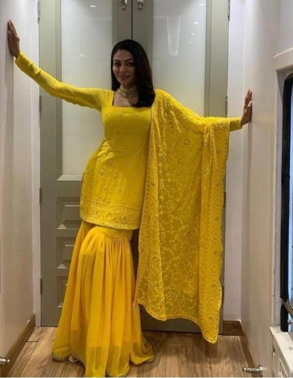 sabyasachi-graceful-yellow-color-trendy-embroidery-sharara-suit