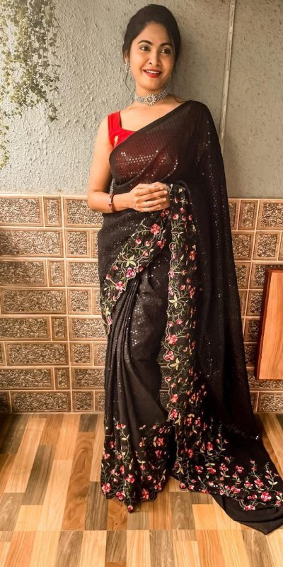 womens-pretty-black-color-sequence-with-embroidery-work-saree