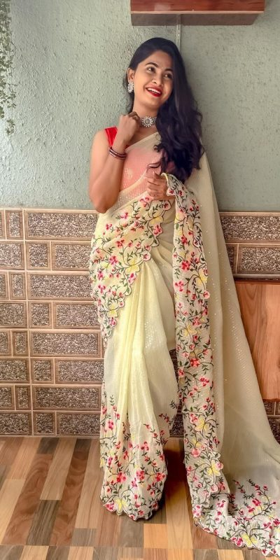 womens-pretty-cream-color-sequence-with-embroidery-work-saree