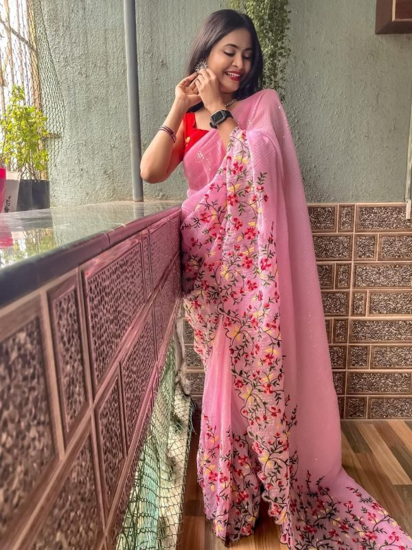 womens-pretty-pink-color-sequence-with-embroidery-work-saree