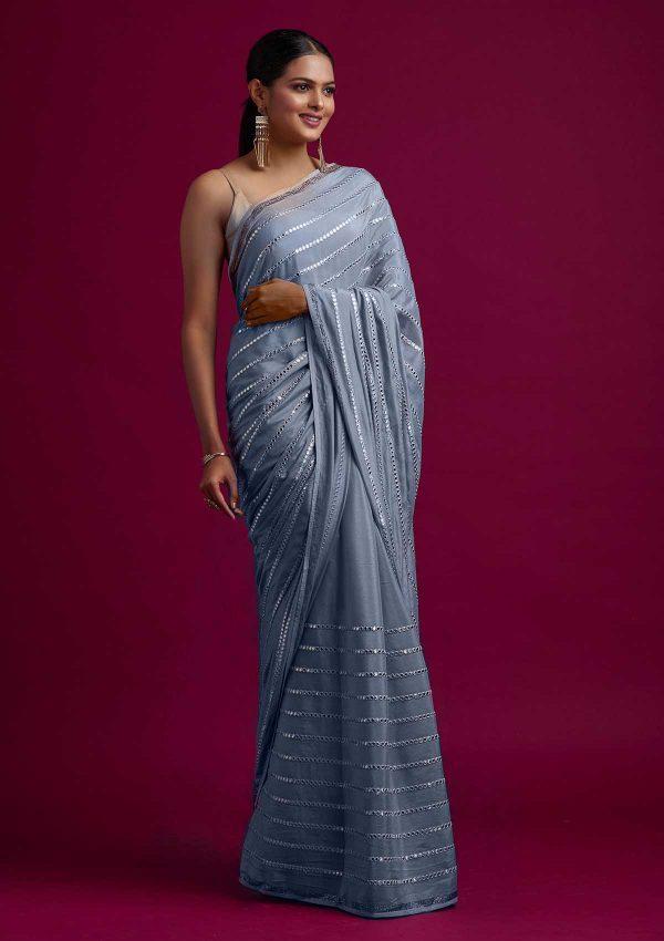 fashionable-grey-color-fancy-mirror-work-trendy-party-wear-saree