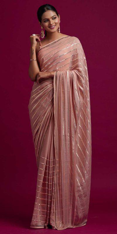 fashionable-orange-color-fancy-mirror-work-trendy-party-wear-saree