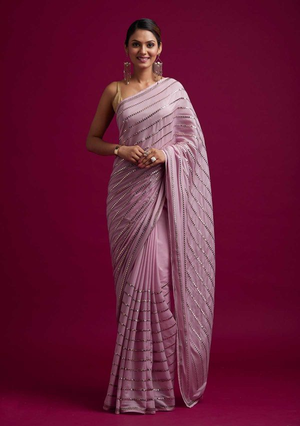 fashionable-pink-color-fancy-mirror-work-trendy-party-wear-saree