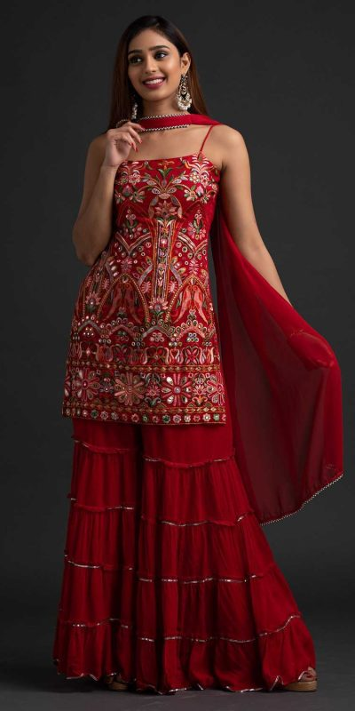 magnificent-red-colour-georgette-with-real-mirror-work-sharara