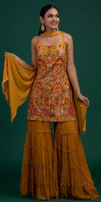 magnificent-yellow-colour-georgette-with-real-mirror-work-sharara