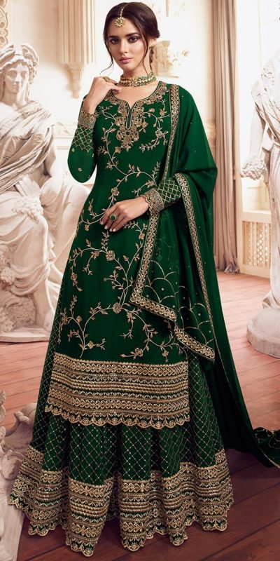 womens-look-stunning-with-designer-green-color-bridal-sharara-suit