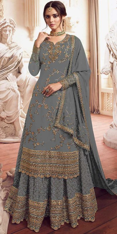 womens-look-stunning-with-designer-grey-color-bridal-sharara-suit